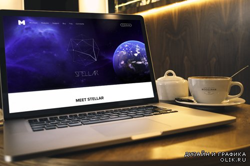 Macbook Pro and Coffe Cup Mockup PSD