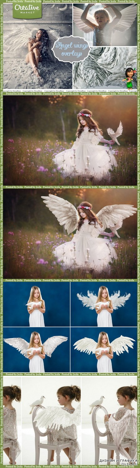 CreativeMarket - 15 White Angel Wings Overlays PNG - 164327
