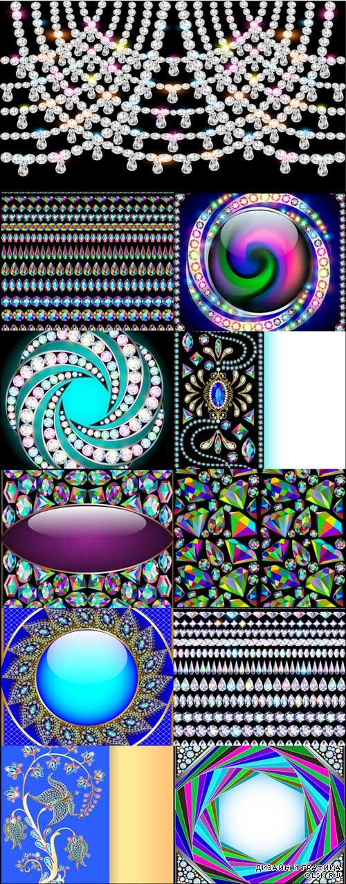 Colorful vector diamonds seamless pattern, borders and backgrounds
