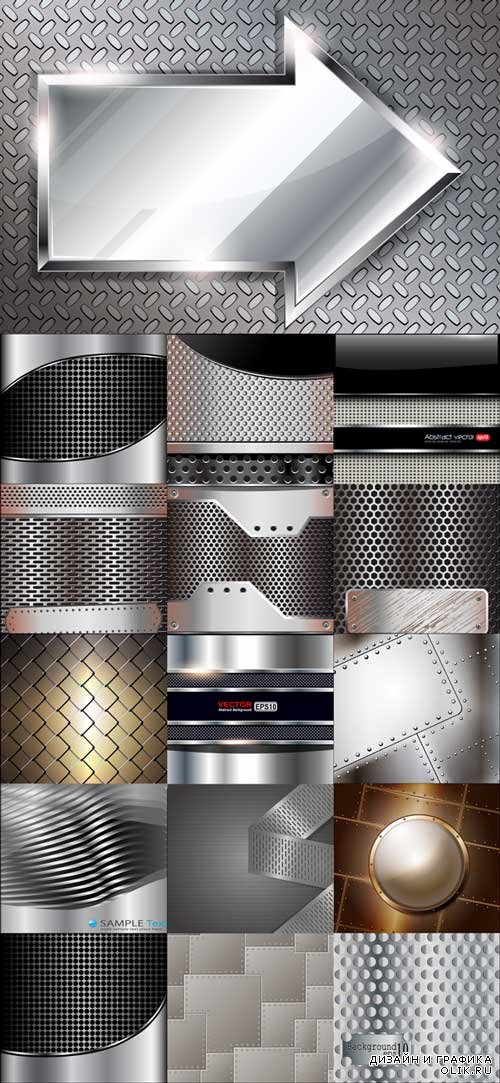 Vector Glossy Pierced Steel Metal Background