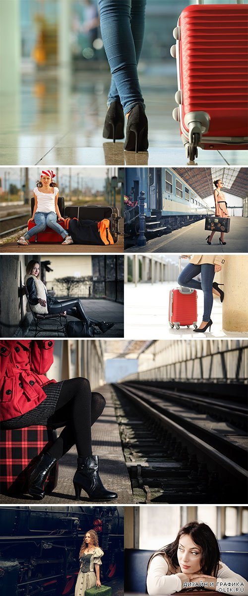 Stock Photo Girl at the train station with suitcases