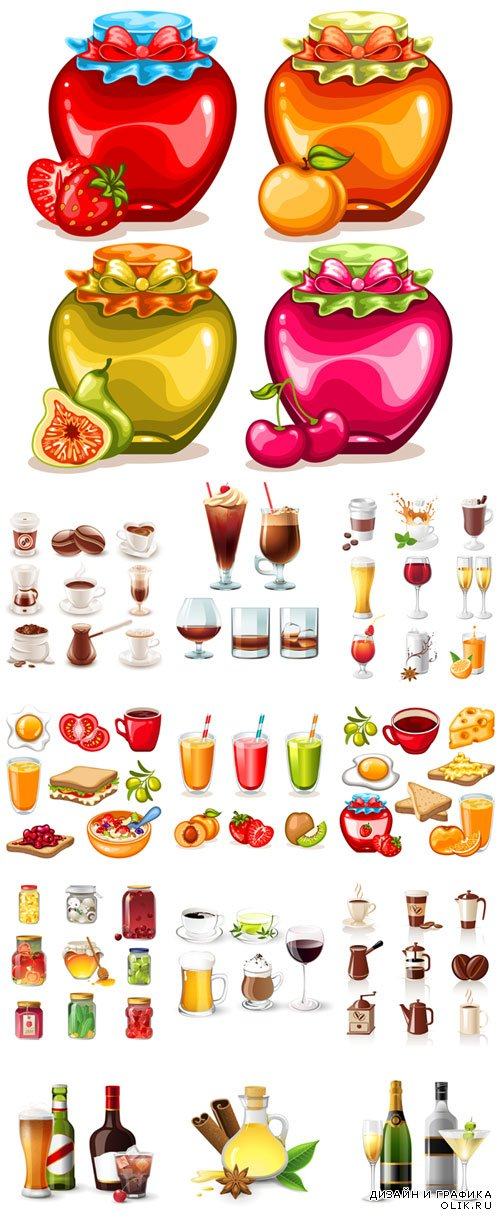 Different delicious drinks, fruit drinks and food vector illustration