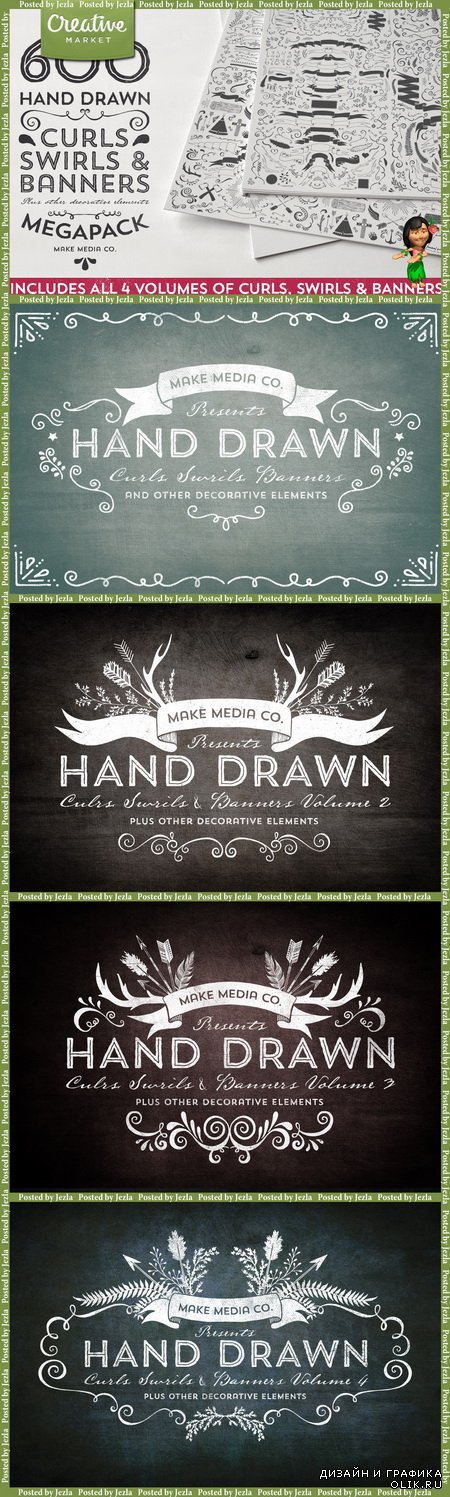 Hand Drawn Curls Banners MEGAPACK - 31059