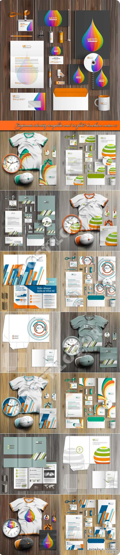 Corporate identity template and tri-fold brochure vector 12