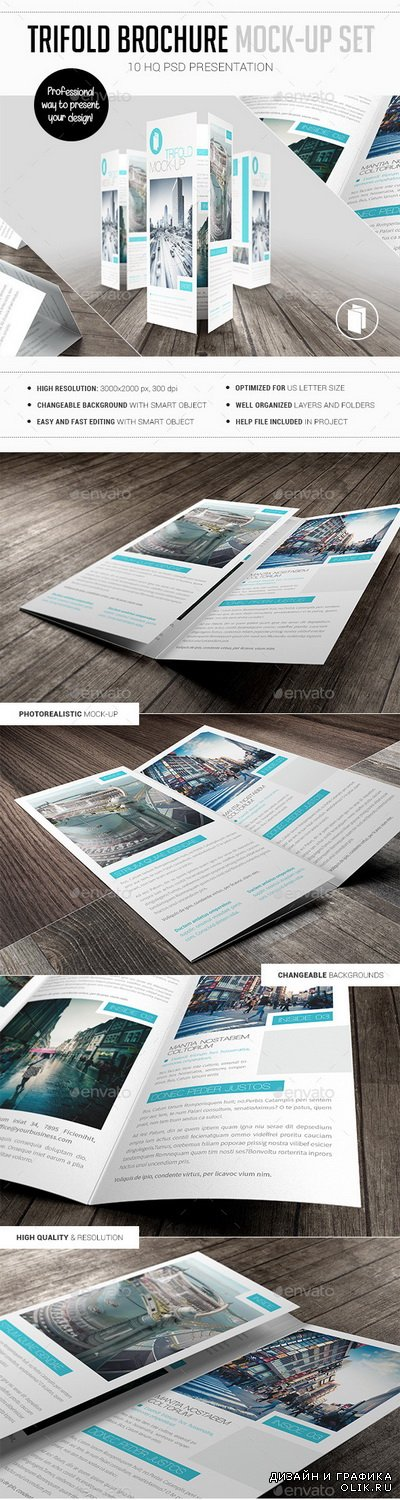 Trifold Brochure Mock-Up Set - 10475478