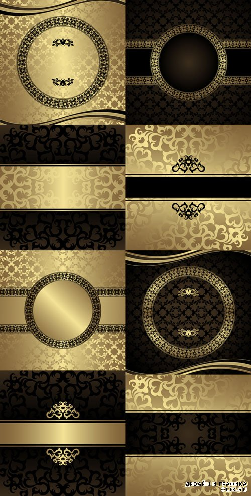 European vector background with golden patterns set 1