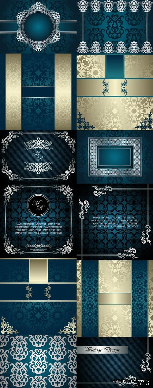 European vector background with golden patterns set 2