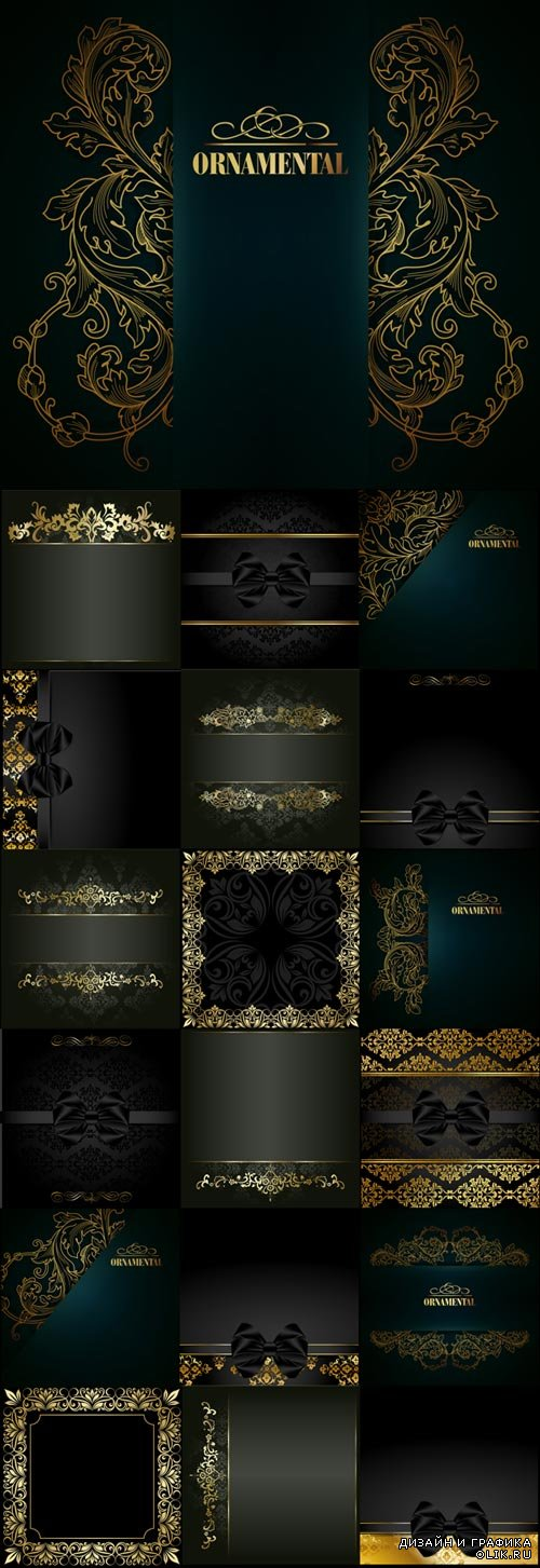Dark stylish vector backgrounds with delicate gold elements