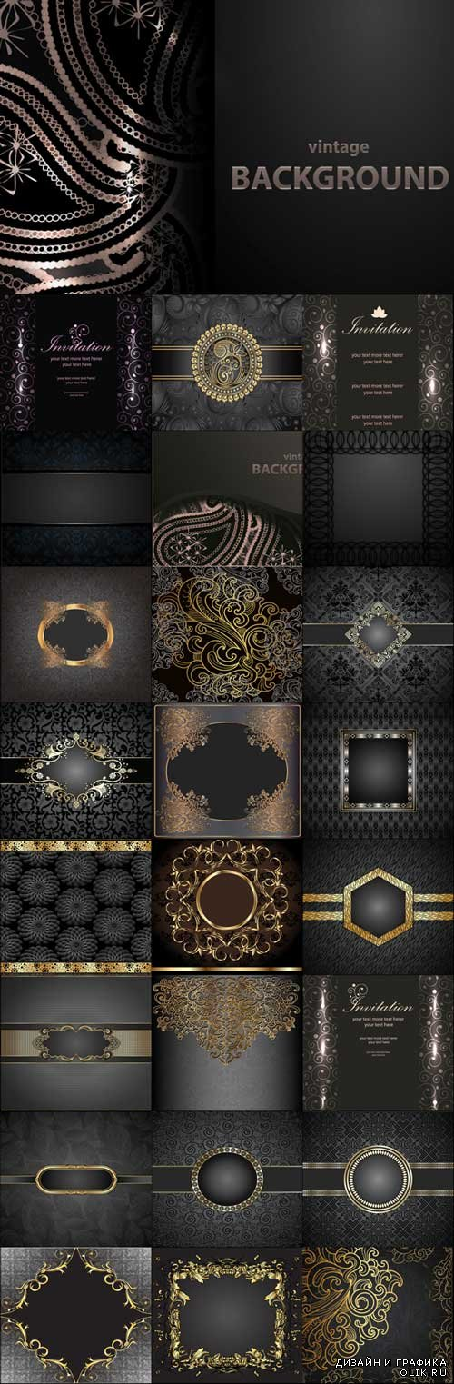 Dark stylish vector backgrounds with delicate gold elements set 2