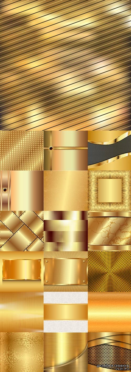 Shiny golden metallic vector backgrounds material