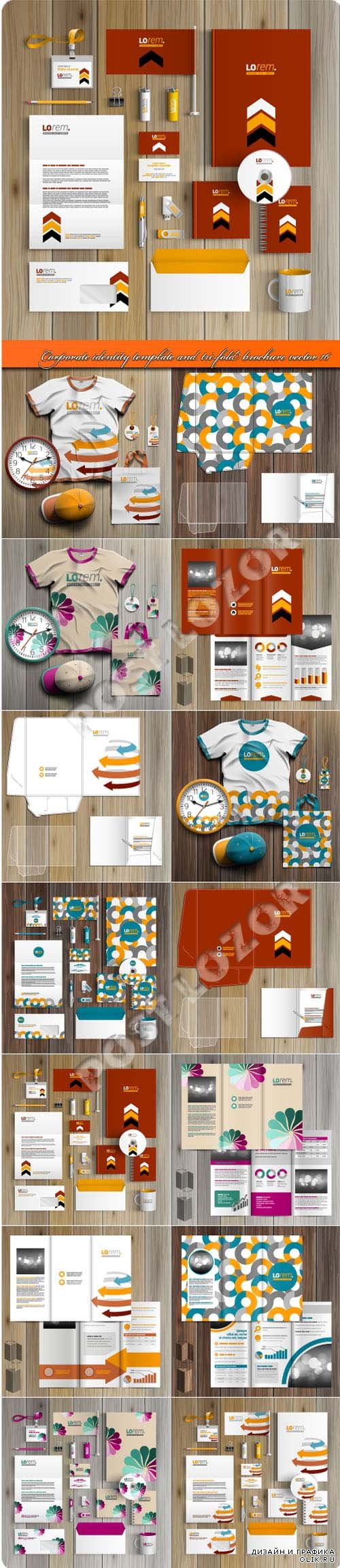 Corporate identity template and tri-fold brochure vector 16