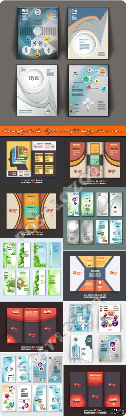 Business flyer brochure bi-fold and tri-fold mockup A4 size vector 7