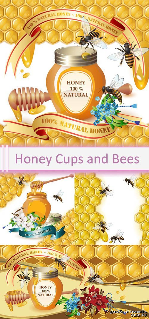Vector Honey Cups and Bees