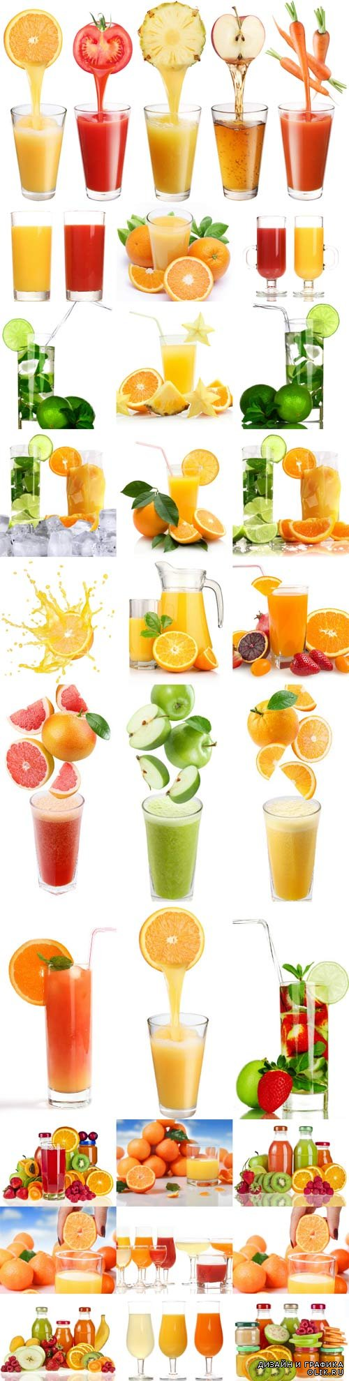 Freshly squeezed fruit juices stock photos