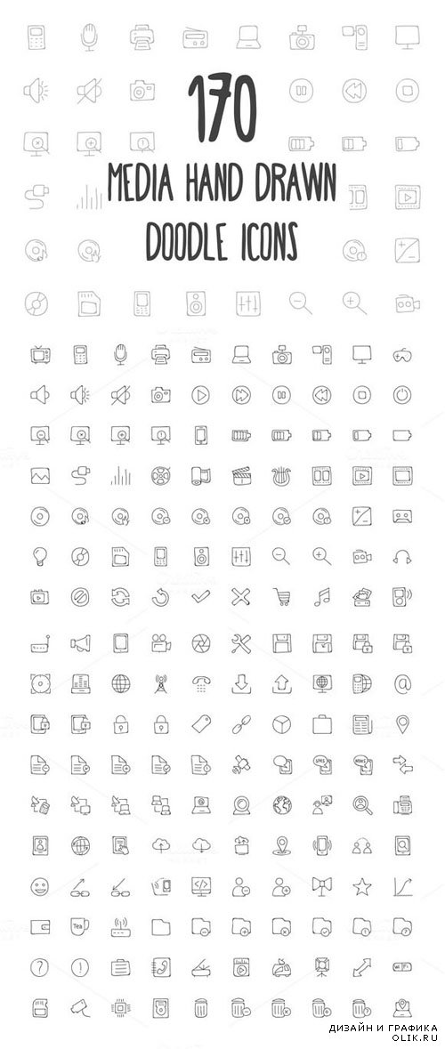170 Media Hand Drawn Doodle Icons - Creativemarket 160805