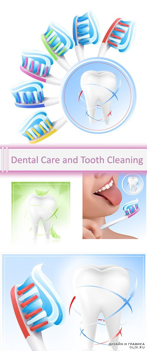 Vector Dental Care and Tooth Cleaning