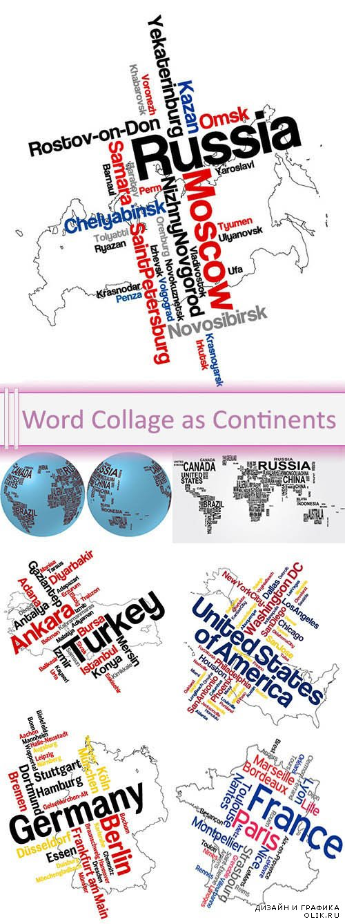Vector Word Collage as Continents