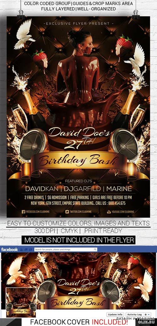 Flyer Template - Birthday Bash Premium Facebook Cover