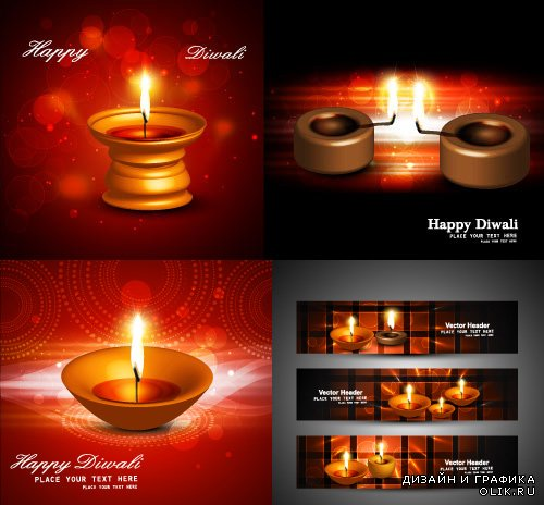 Happy Diwali banners & BG Vector