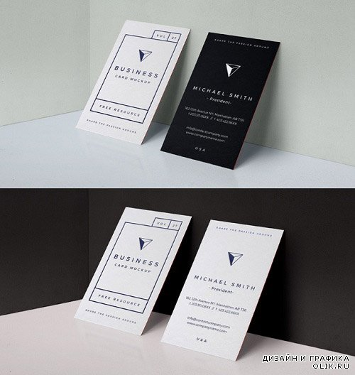 Black White Business Card Mock Up PSD