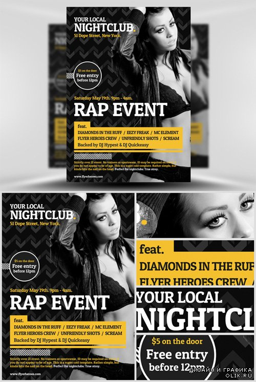 Flyer Template PSD - Typographic Club