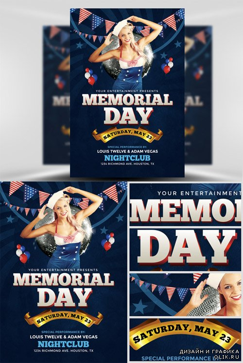 Flyer Template PSD - Memorial Day Weekend 1