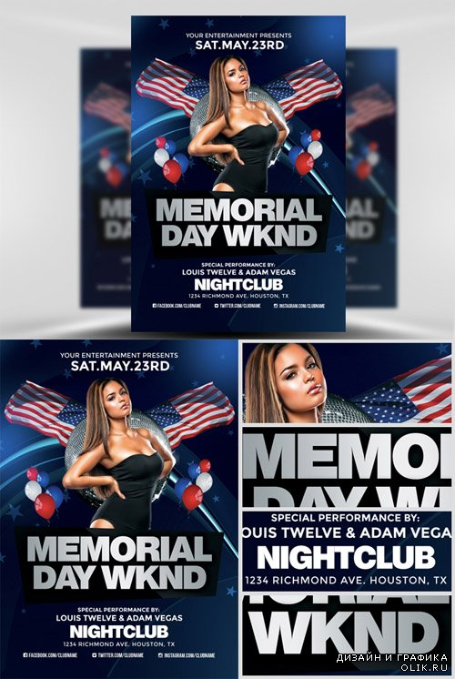 Flyer Template PSD - Memorial Day Weekend 2