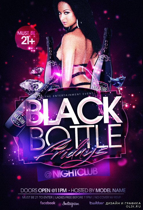 Flyer Template - Black Bottles Ladies Night PSD