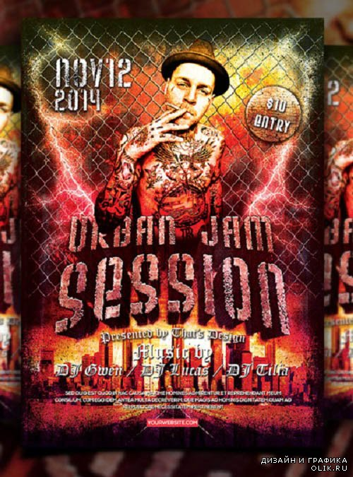 PSD Urban Jam Session Flyer Template