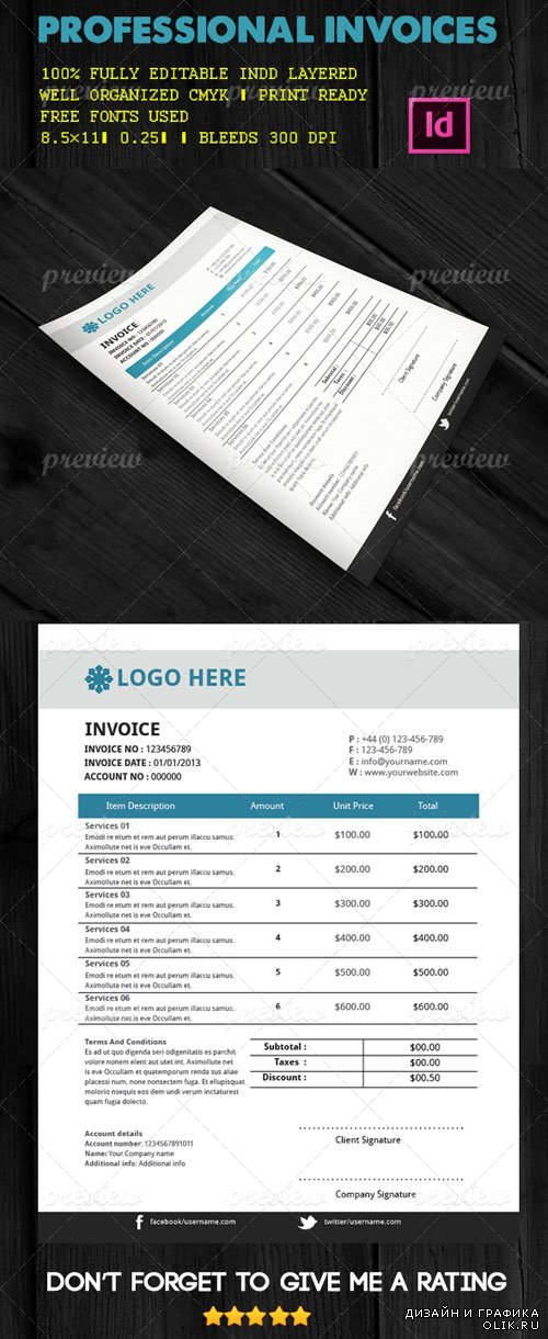 Professional Invoices Indesign