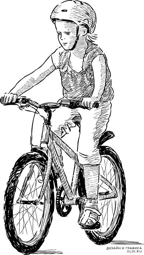 Картинки катание на велосипеде карандашом