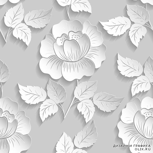 Floral patterns, vector and 3D paper