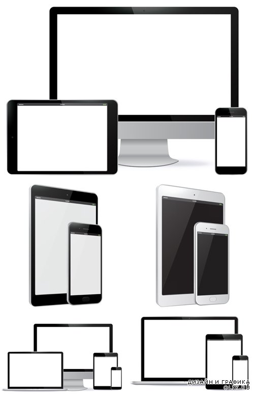 Vector Set - Computer Screens and Tablet