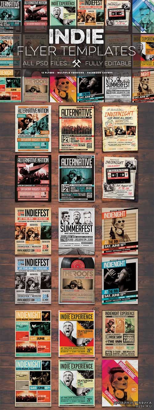 12 Indie Flyers Bundle + FB Covers - 335278