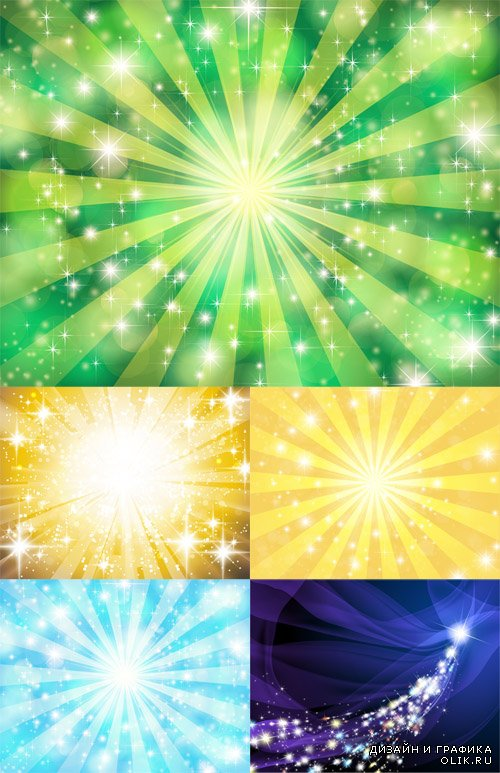 Vector Set - Sun Background with Sparkles