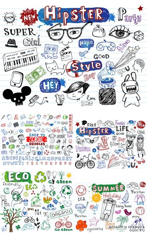 Vector Set - Summer, Hipster, Eco, School Doodles