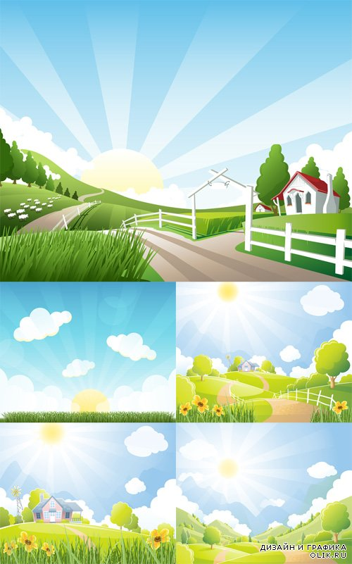 Vector Set - 5 Farm Illustrations