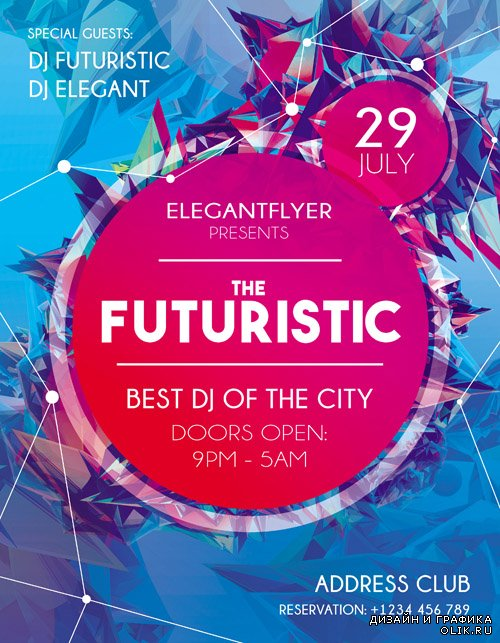 Flyer PSD Template - Futuristic Flyer + Facebook Cover