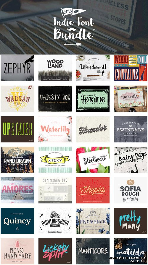 Indie Font Bundle (72 Handcrafted Fonts)