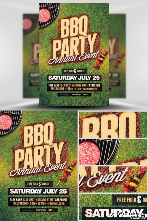 Flyer Template PSD - BBQ Party