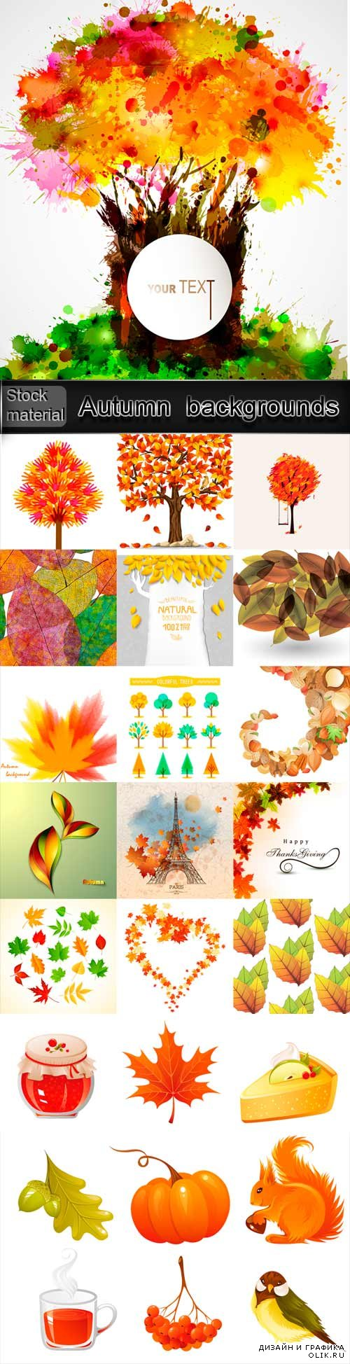 Autumn vector backgrounds with trees and leaves