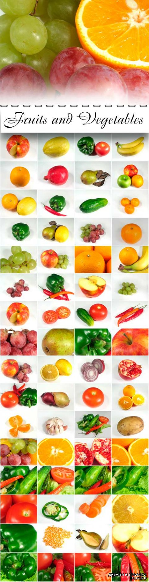 Fruits and Vegetables Photo Cliparts
