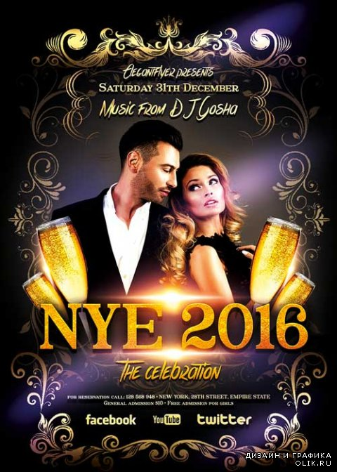 New Year Party 2 Flyer Template + Facebook Cover