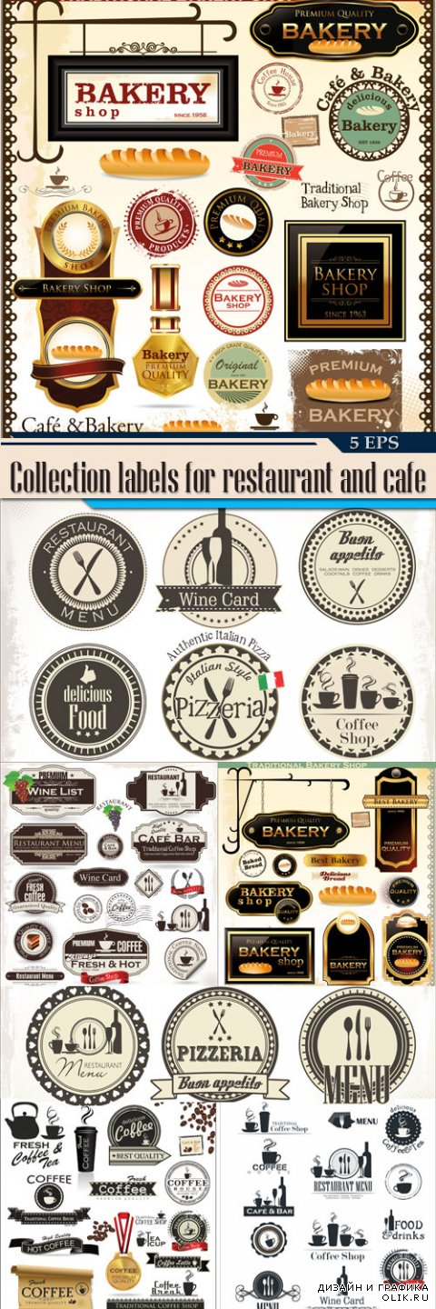 Collection labels for restaurant and cafe