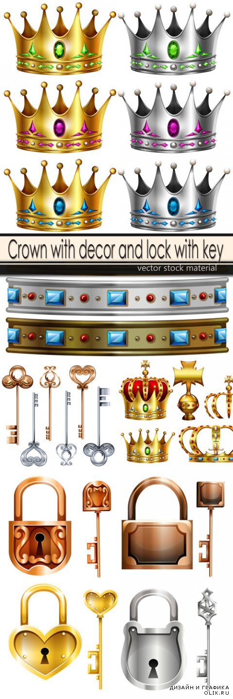 Crown with decor and lock with key