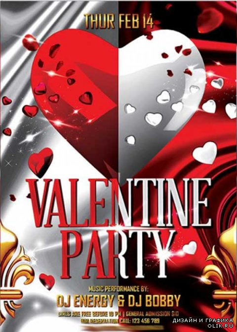 Valentines Party Premium Flyer Template + Facebook Cover