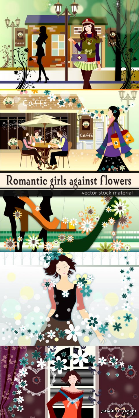 Romantic girls against flowers