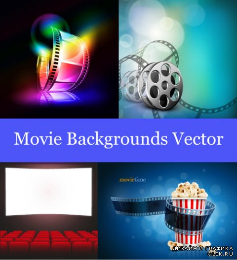 Coloured movie film abstract background with popcorn (Vector)