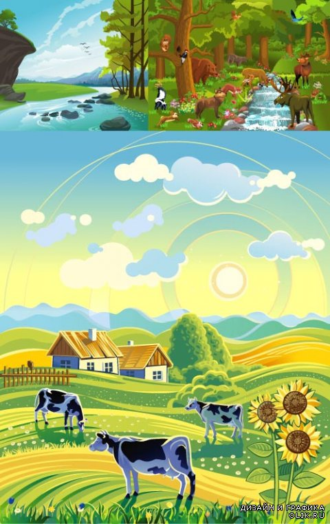 Cartoon pictures landscape (Vector)