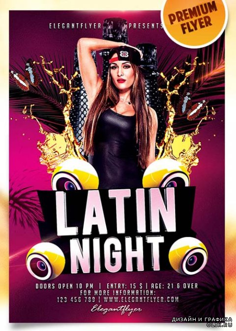 Latin Night Flyer PSD Template + Facebook Cover